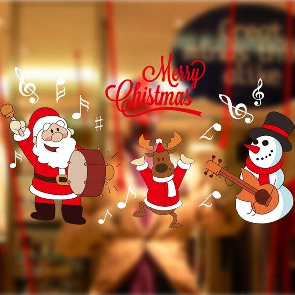 DIY Noel Duvar Tabelaları Ev Dekoru Noel Santa Claus Pencere Camı Dekoratif Duvar Çıkartması