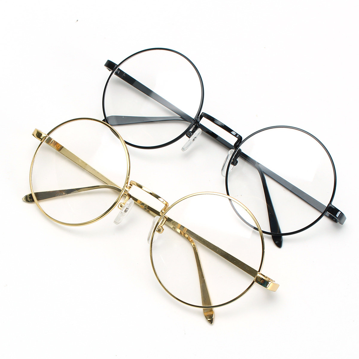 128e04b18420 gold metal vintage round eyeglasses frame clear lens full-rim glasses at  Banggood sold out