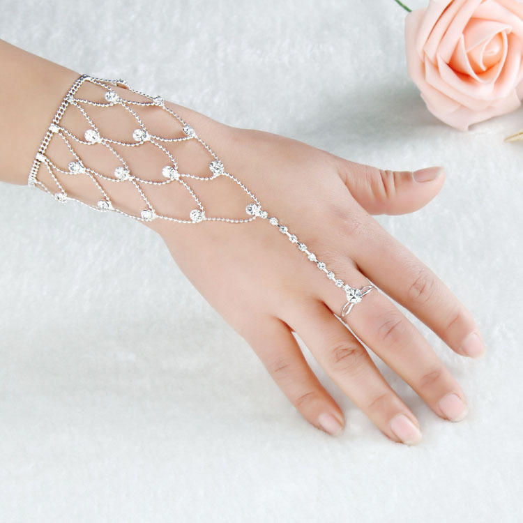 Silver Plated Metal Rhinestone Anklet Hand Ring Bracelets