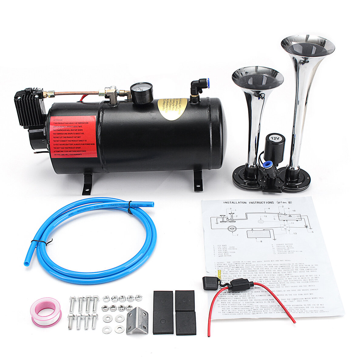 truck train 2 trumpet air horn kit loud dual 180 psi 12v 3l black air  compressor cod
