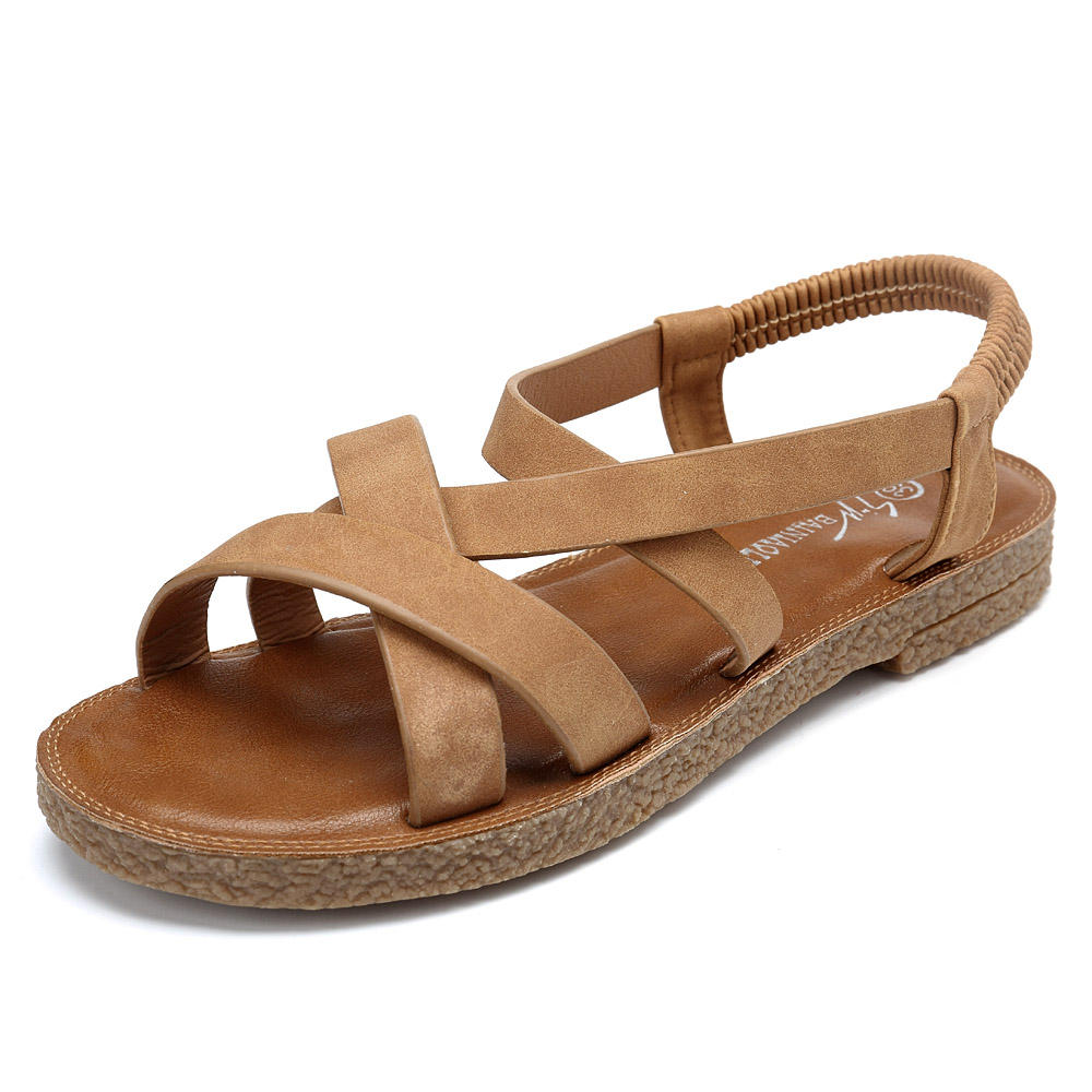 e192befca087 women shoes roman cross elastic band sandals at Banggood