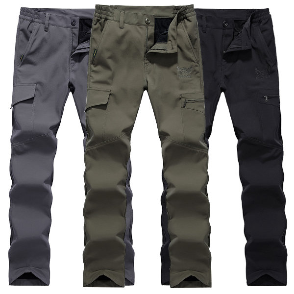 Mens Outdooors Thick Fleece Quick Drying Pants Casual Multi Pocket Sport Loose Pants