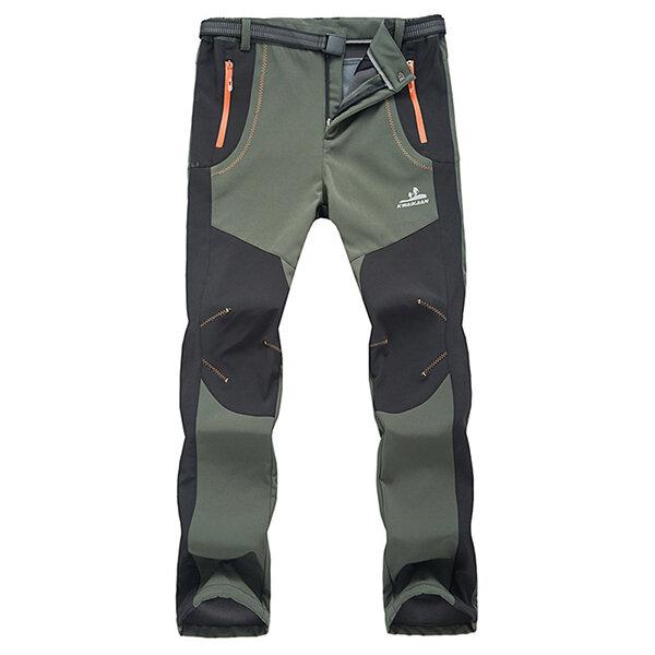 Pantaloni Spessi con Vello Caldi Resistente all'acqua per Arrampicata Campeggio Escursione da Uomo