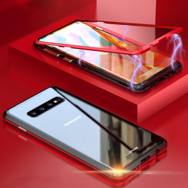 SamsungギャラクシーS10/S10 Plusスクラッチ耐性アルミ強化ガラスフルカバーのためのルーフィー磁気吸着保護ケース