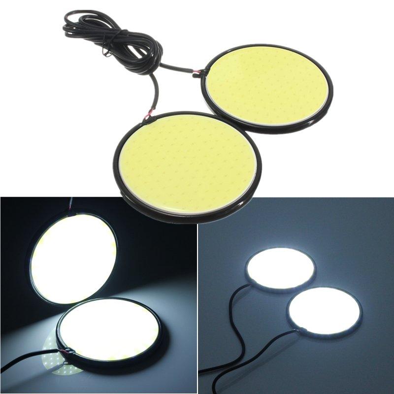 83mm 120 COB LED Beyaz Yuvarlak COB LED Gündüz Çalışan Işık Araba Sis Lamba 12V