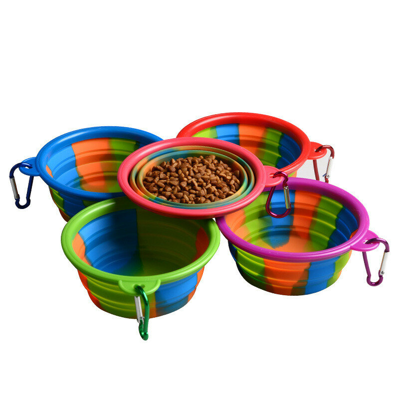 접는 실리콘 애완 동물 그릇 휴대용 개 음식 마시는 물 먹이 용품 야외 그릇