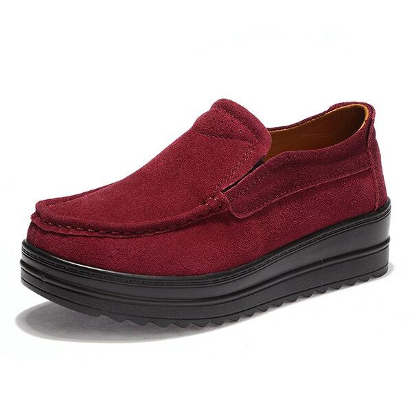 Dames Wedge Heel Platforms Casual Suede Ronde neus schoenen
