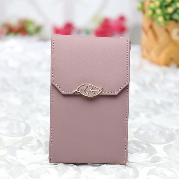 Women PU Leisure Style Wallet Card Holder Crossbody Bag 5.5 Inches Phone Bag