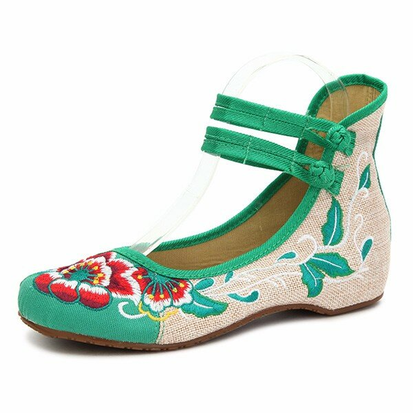 e86581a0e5 big size women mary janes chinese embroidered flower flat shoes linen  loafers at Banggood sold out