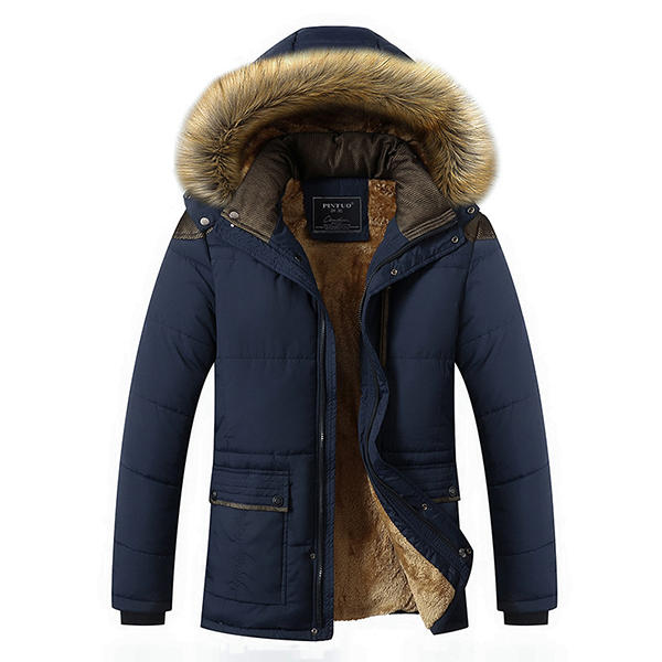b0ec61e95be mens thick fleece warm hooded fur winter outwear jacket at Banggood