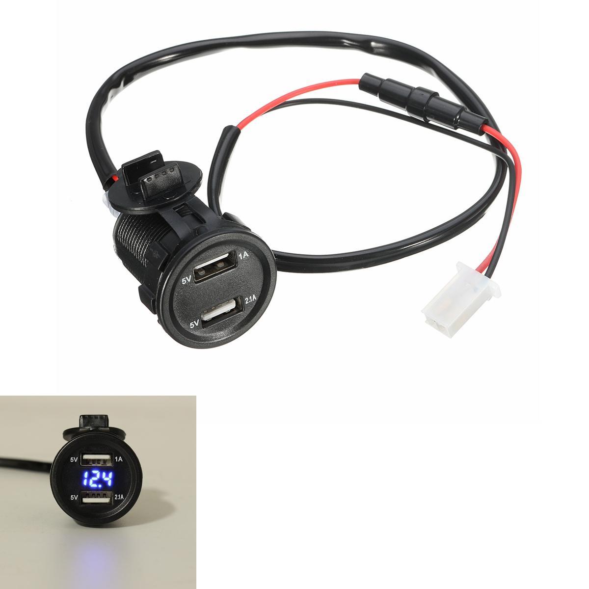 12V 2.1A 1A Dual Usb Charger Socket Voltage Volt Meter Led Light For Car Motorcycle