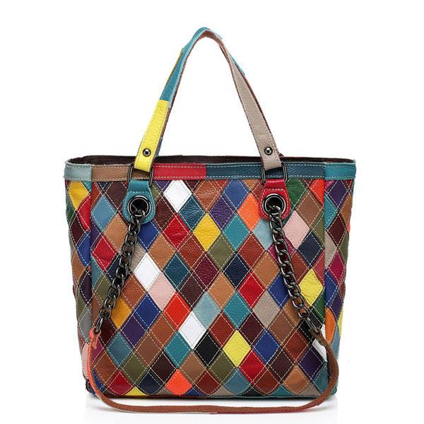 المرأة جلد طبيعي المرقعة الأزياء حقيبة الكتف كروسبودي حقيبة