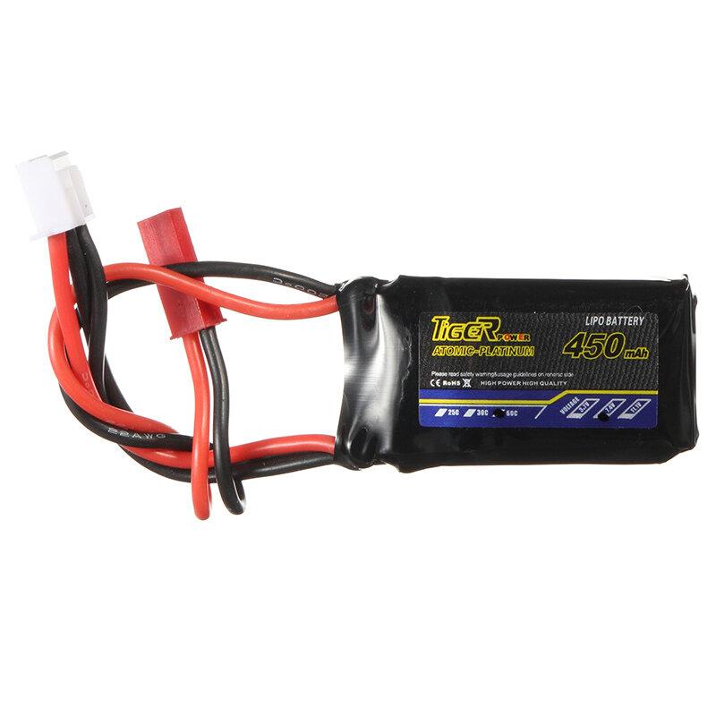 Tiger Power 7.4V 450mAh 60C 2S Lipo Battery JST Plug