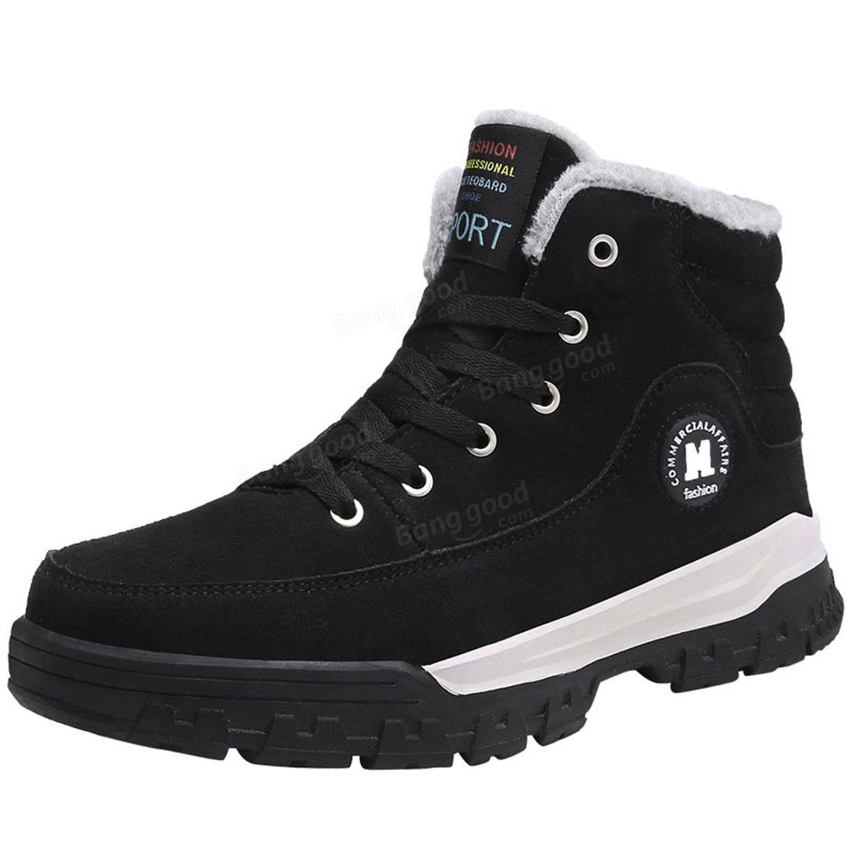 На открытом воздухе Зимние мужские хлопчатобумажные туфли Plus Кашемир теплый повседневный высокий утолщенный снег Ботинки