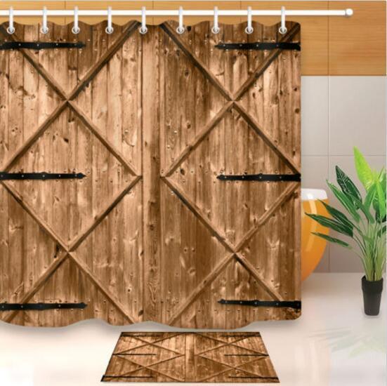 71 Creative Shower Curtain Rustic Nail Wood Barn Door Bathroom Decor Waterproof Fabric COD
