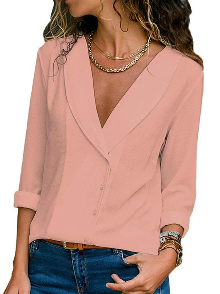 Women Long Sleeve V Neck Chffon Button Loose Solid Blouse