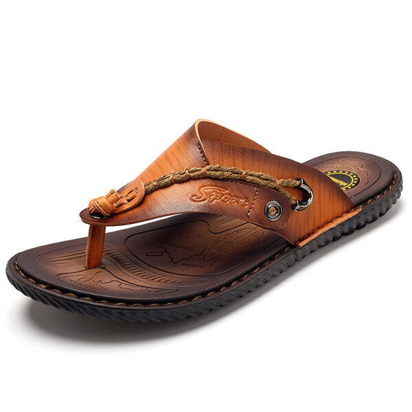 86c0d9926e8c6a Summer Men Leather Sandals Flip Flops Soft Sole Slippers Beach Shoes COD
