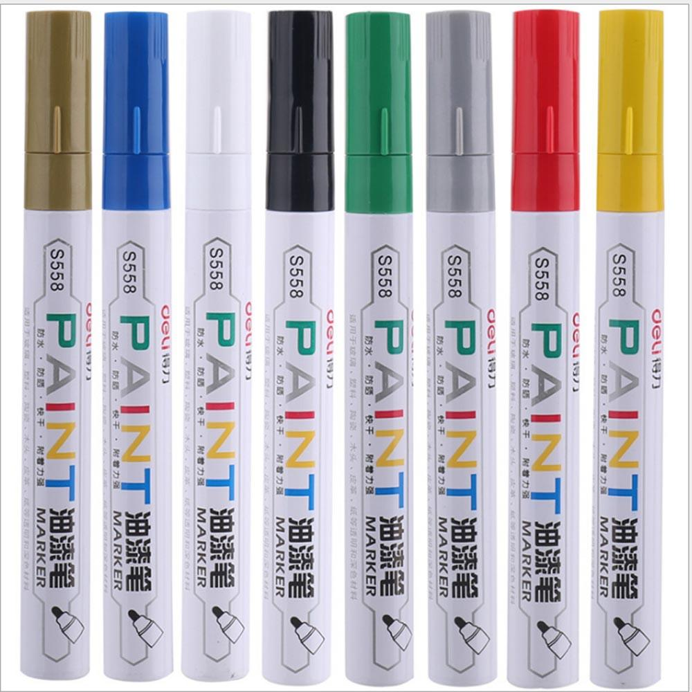 Deli Permanent Marker White Paint Marker Pen Assorted Colors Markers Stationery school & office Supplies