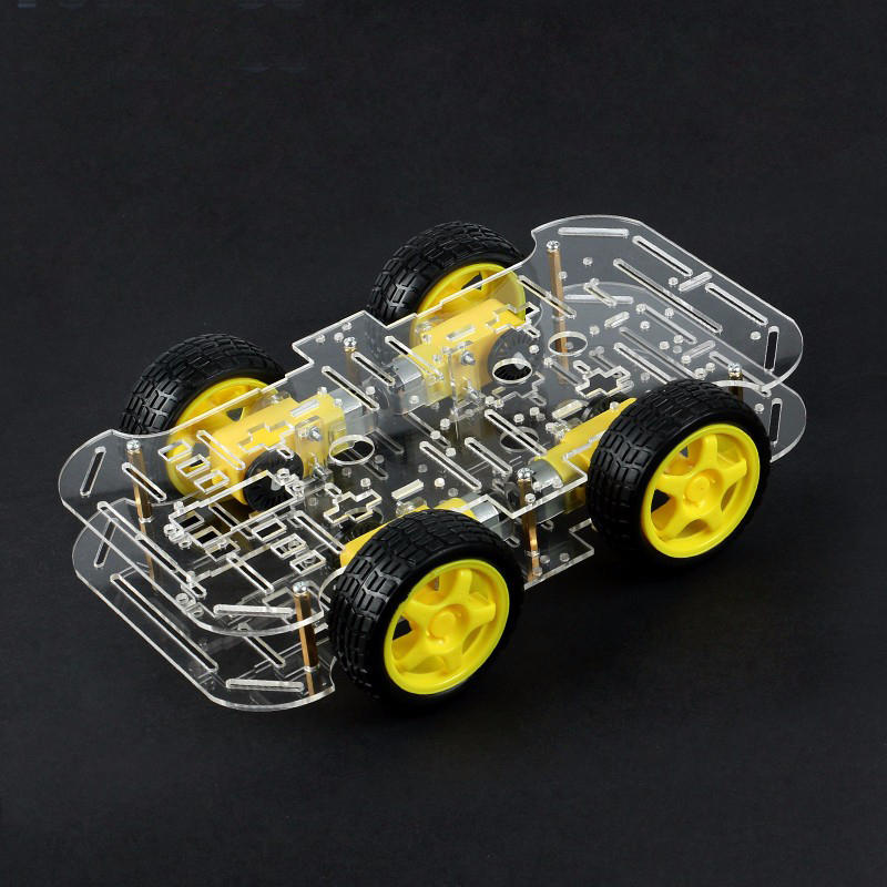 DIY 4WD Smart Robot Car Double-Deck Chassis Kit with Speed Encoder