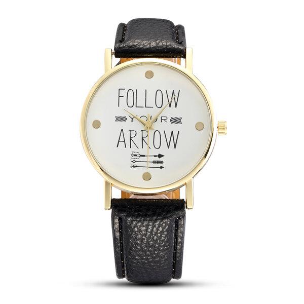Casual Fashion Alphabet Pattern Dial Leather Strap Women Quartz Watch