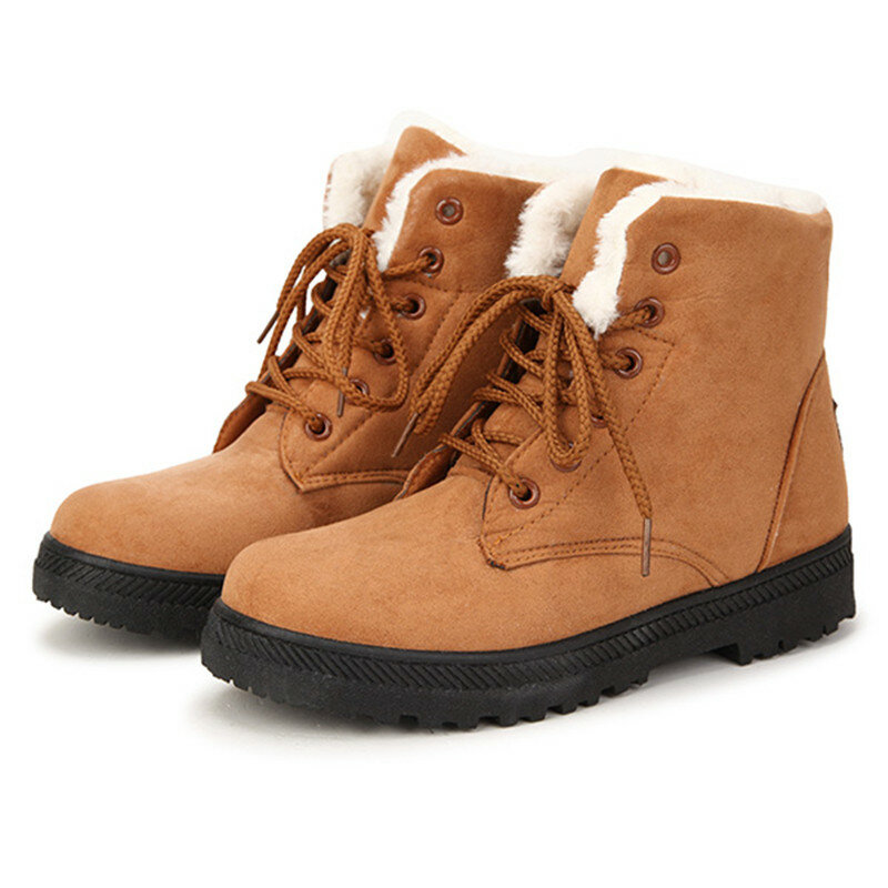 US Size 5-12 Women Winter Keep Warm Flat Plush Snow Boots Ankle Short Boots  COD c46af58ca5