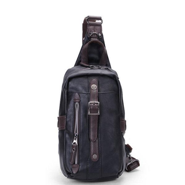 Мужчины PU Черный бизнес вскользь Открытый плеча Crossbody сумка