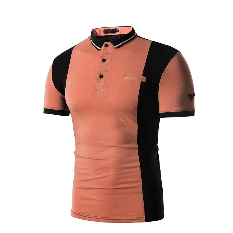 Mäns Sommar Hit Färg Kortärmad Golfskjorta Mode Tillfällig Ståsta Toppar