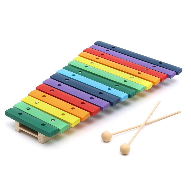 15 Tone Colorful legno Glockenspiel Xilofono educativo a percussione giocattolo strumento musicale