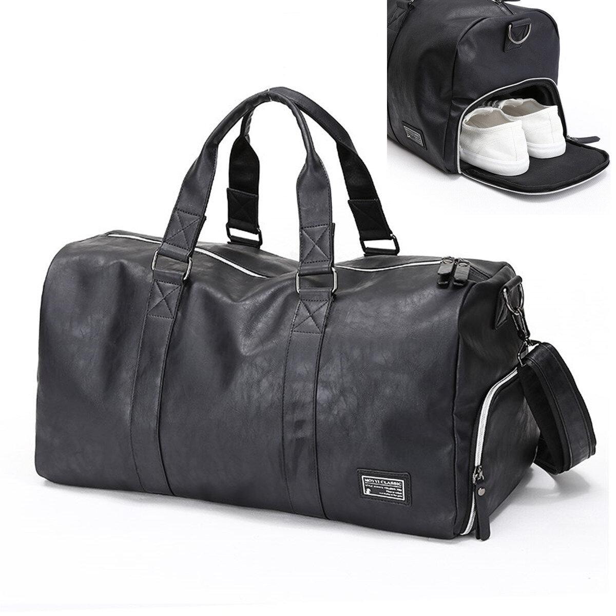 13306542dd5729 Men Large Leather Travel Gym Bag Duffle Storage Pouch Handbag Shoes  Organizer COD