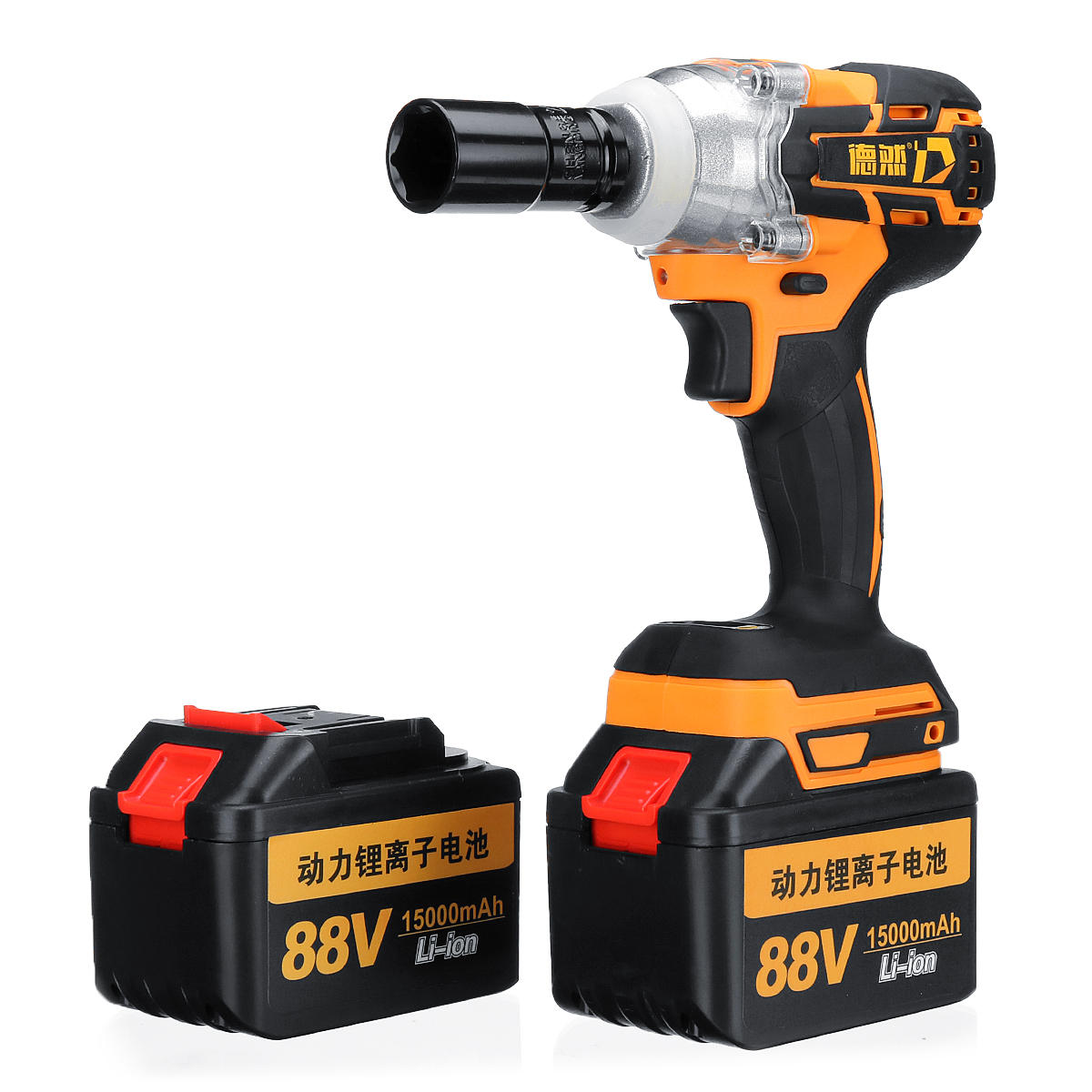 88V 15000mAh Cordless Brushless Electric Impact Wrench W/ 2 Batteries Woodworking Power Tool