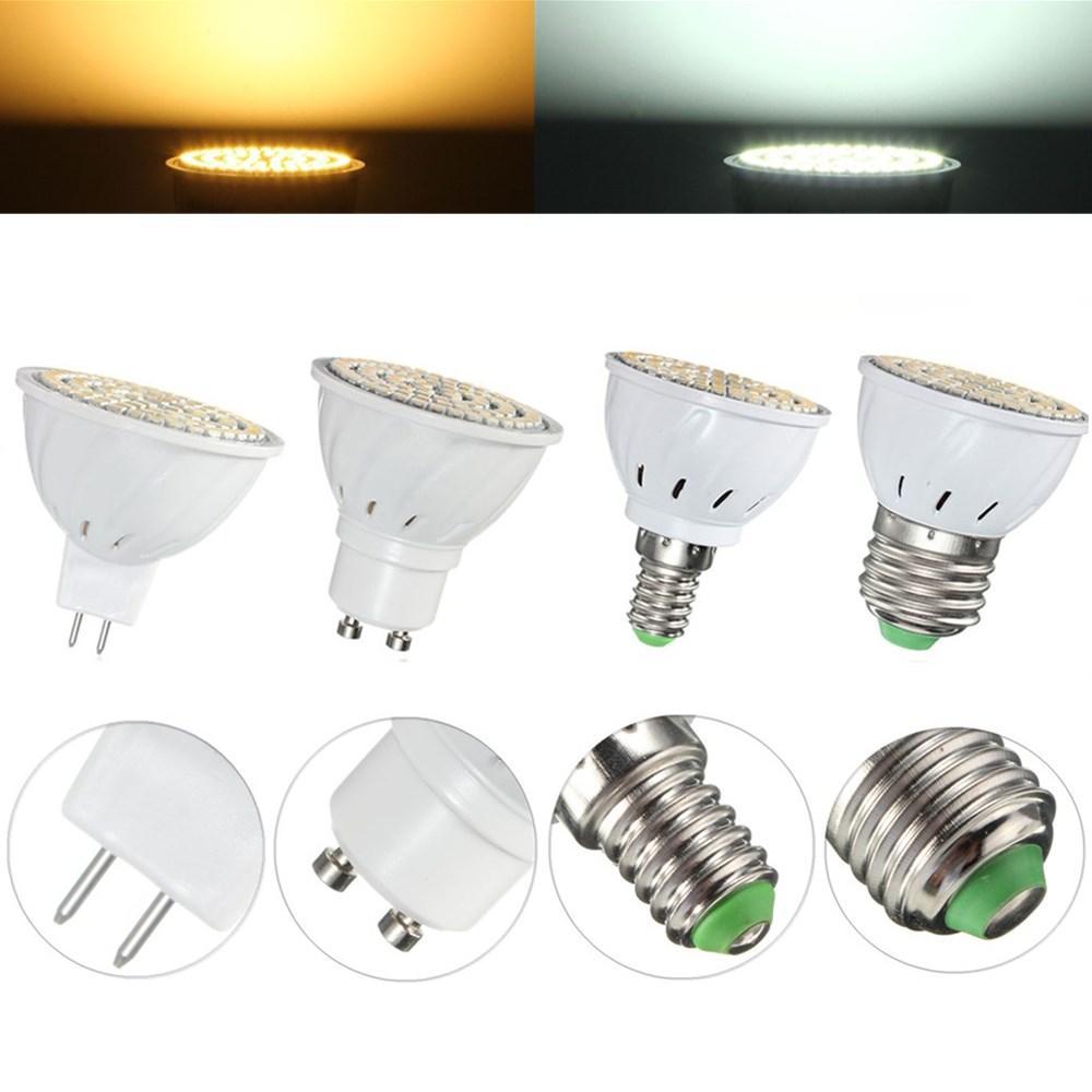 E27 E14 GU10 MR16 4W 80 SMD 3528非調光LED温白色白色スポットライトランプAC110 / 220V