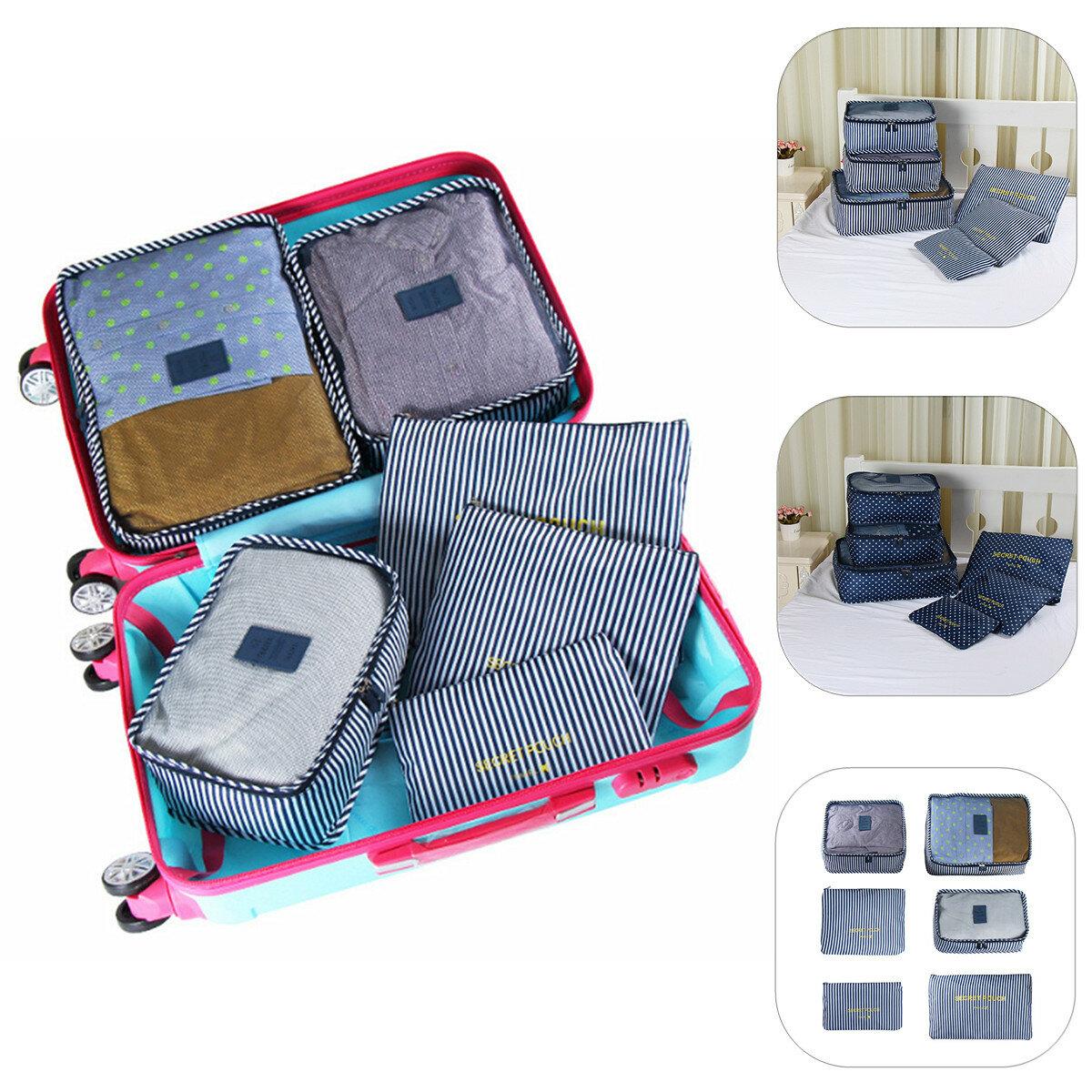 6pcs sacs de rangement de vêtements de voyage imperméables emballage Cube bagages organisateur pochette