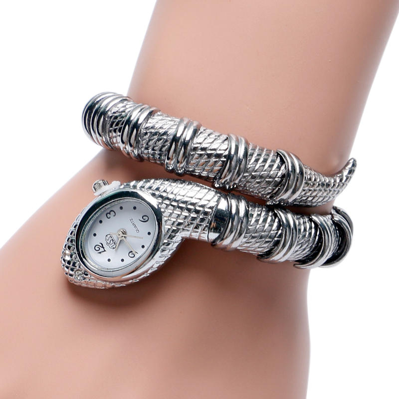 Snake Shape Siliver Gold Colors Stainless Steel Bracelet Wrist Watch