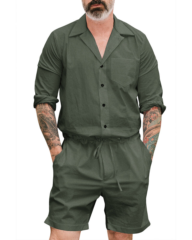 Casual Loose Coverall Conjoined Suit Onesies Loungewear for Men