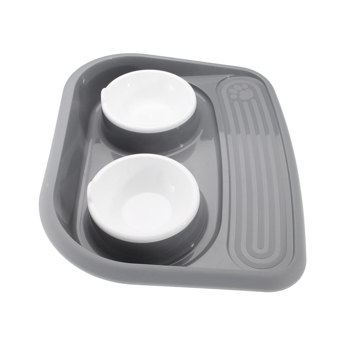 Plastic Pets Feeder Bowl DogCat Feed Drink Double Dish Food Water Splash Proof Pet Bowl