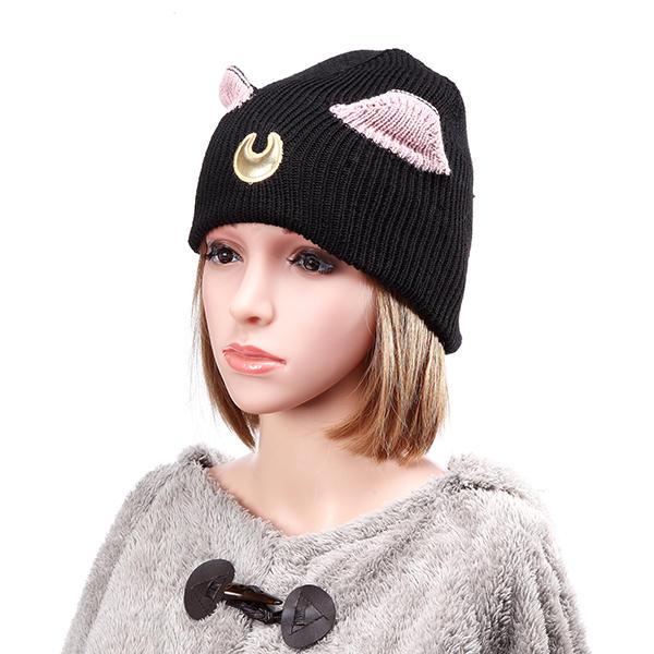Les femmes crochet tricot beanie chapeau belle lune broderie oreille de chat modèle chapeau de ski chaud