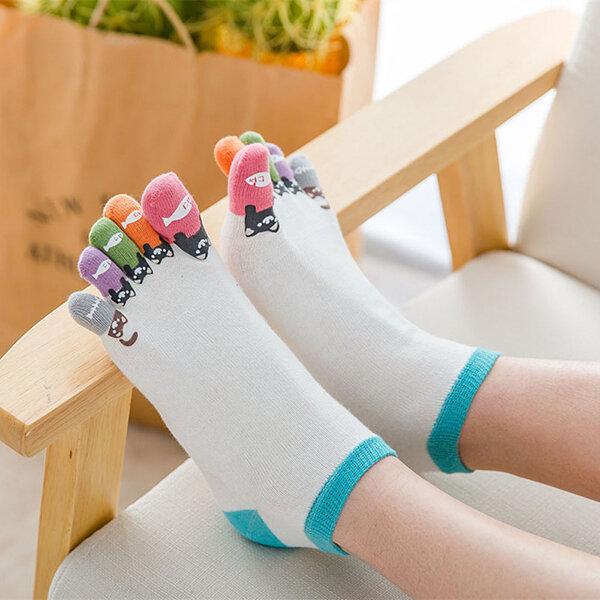 89d97ae5c Women Girl Cute Cartoon Five Toe Socks Cotton Breathable Soft Ankle Socks  COD