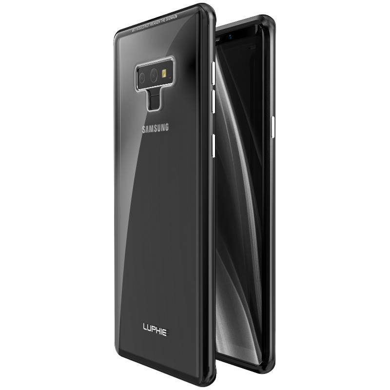 Luphie Metal Bumper+9H Transparent Tempered Glass Shell  Protective Case For Samsung Galaxy Note 9