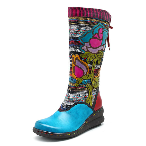 SOCOFY Genuine Leather Handmade Floral Pattern Zipper Mid-calf Boots