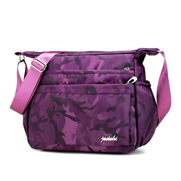 Women Nylon Camouflage Shoulder Bags Front Pockets Outdoor Waterproof Crossbody Bags