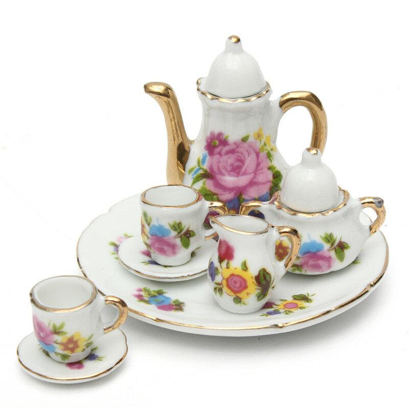 8pcs Porcelain Vintage Tea Sets Teapot Coffee Retro Floral Cups Doll ...