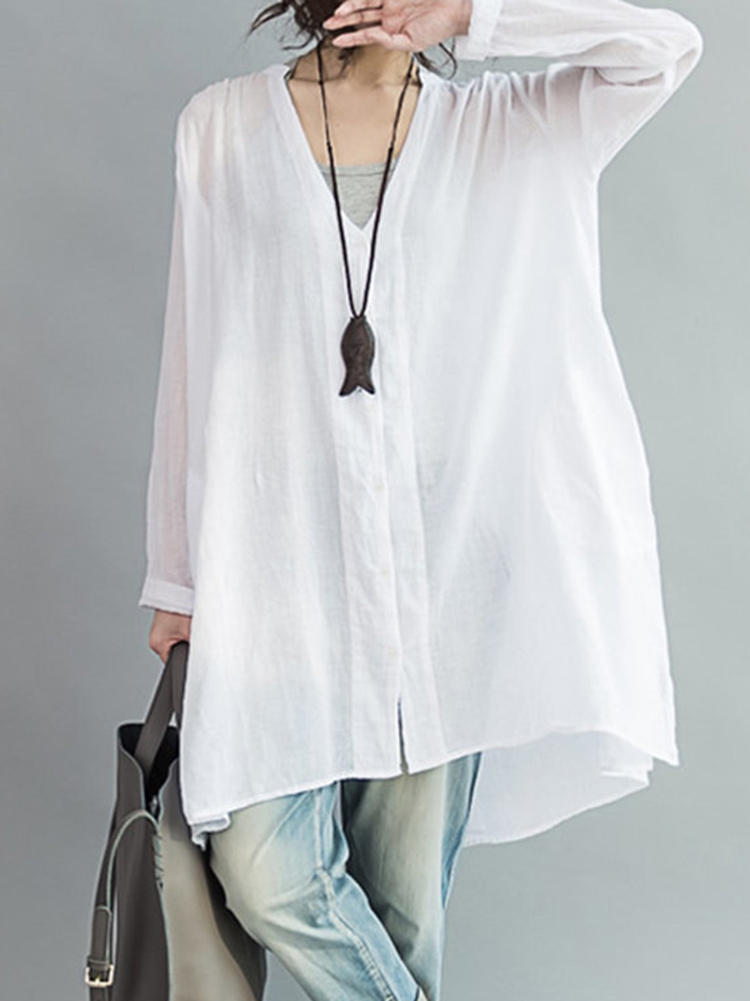 Casual Women White Loose V-Neck Thin Blouse