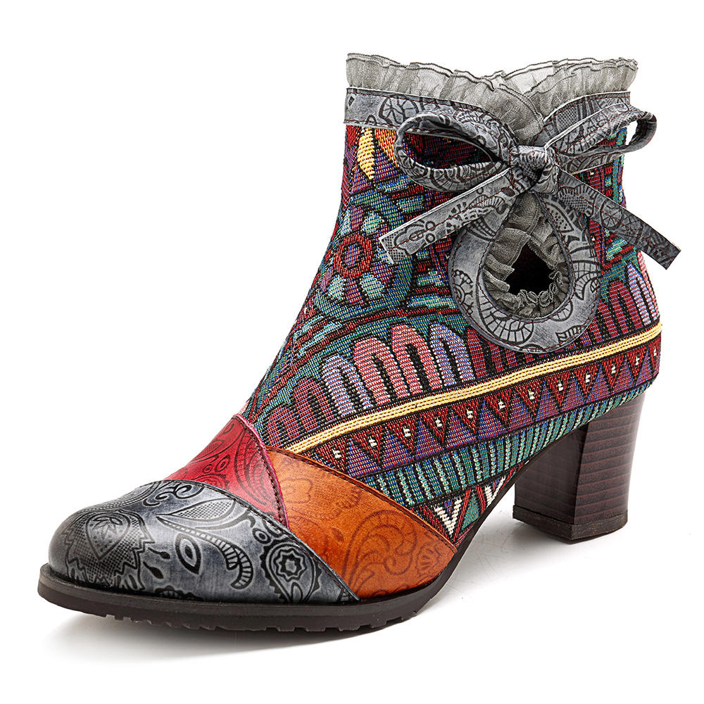 067ed639bd45 SOCOFY Splicing Pattern Lace Block Zipper Leather Ankle Boots COD
