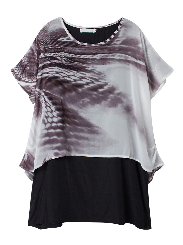 d6fc93feb255 women casual loose leopard printed chiffon two pieces t-shirt at ...
