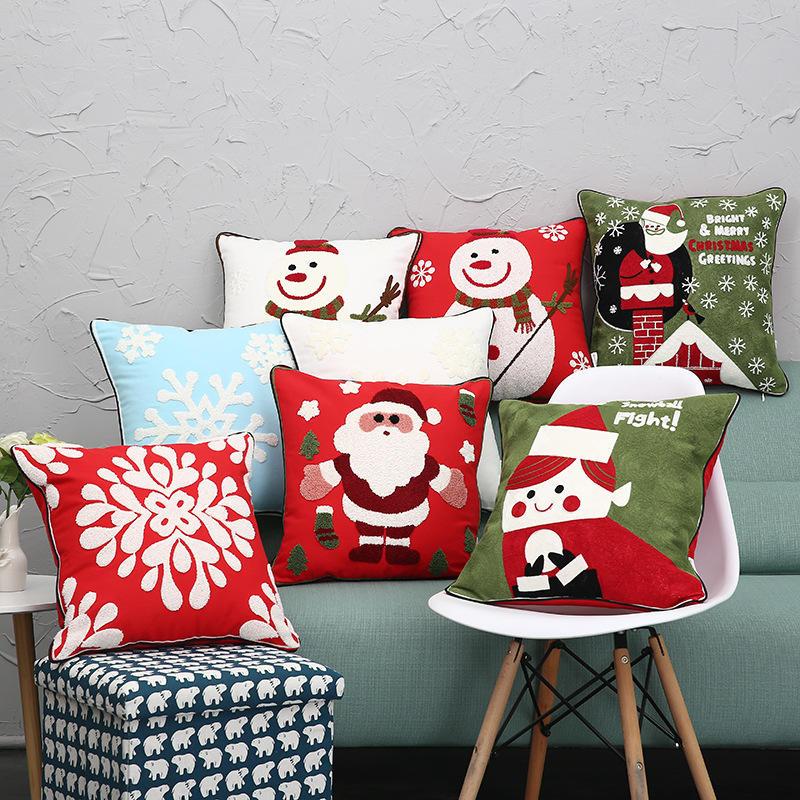 Yeni Noel Saf Pamuk İşlemeli Yastık Kılıfları Santa Snowflake Yastık Kılıfı Kanepe için Araba Ev Dekoru