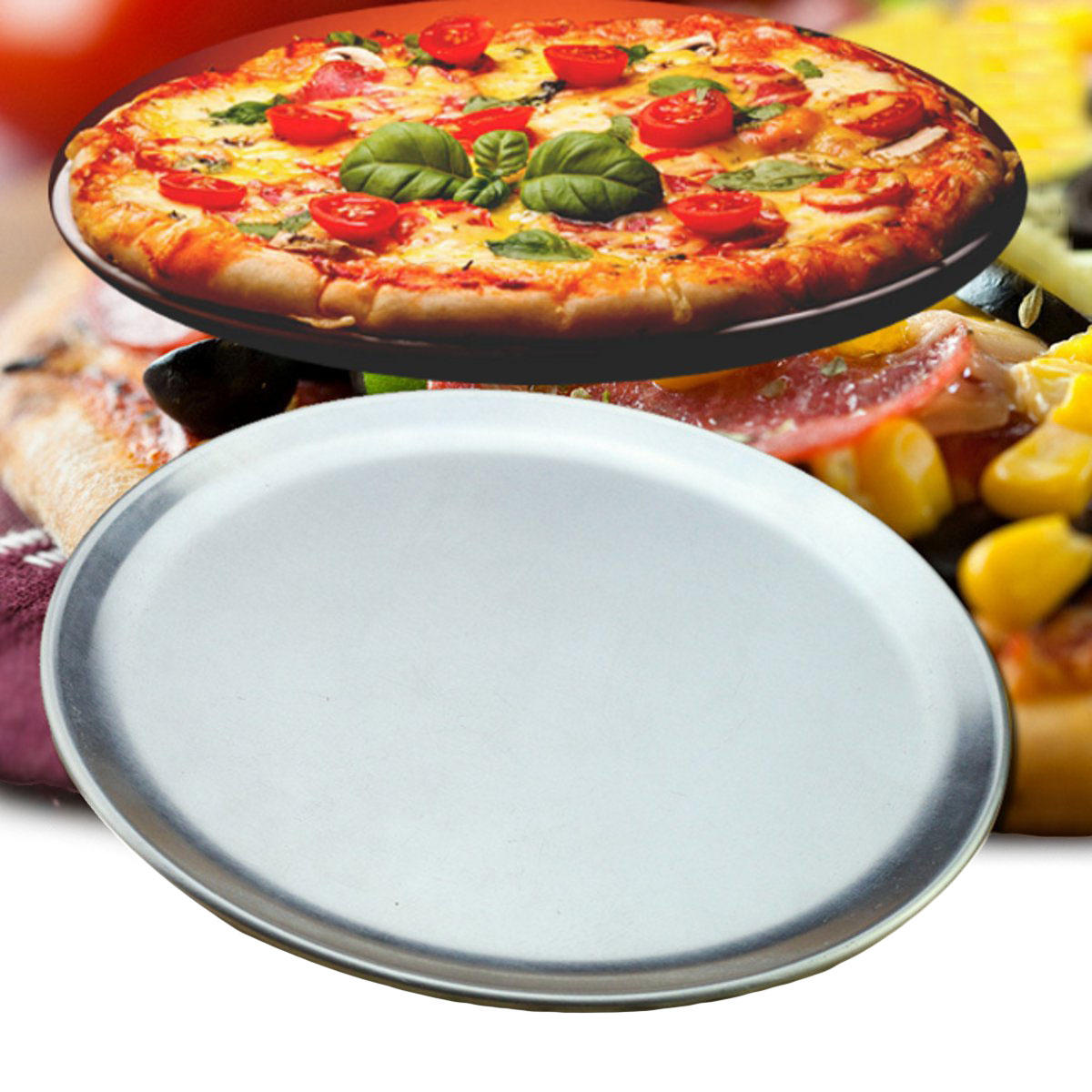 Aluminium Runde Pizza Tray Platte Backen Pan Küche Kochgeschirr 10 ...