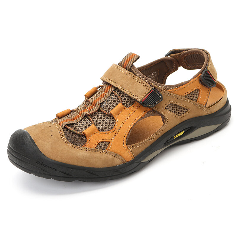 Genuine Leather Breathable Mesh Hollow Outdoor Hiking Sandals