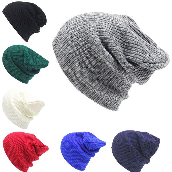 ฤดูหนาว Casual ถักอบอุ่น Skullies Beanies หมวกหมวกผู้หญิงสูงยืดหยุ่น Men Women
