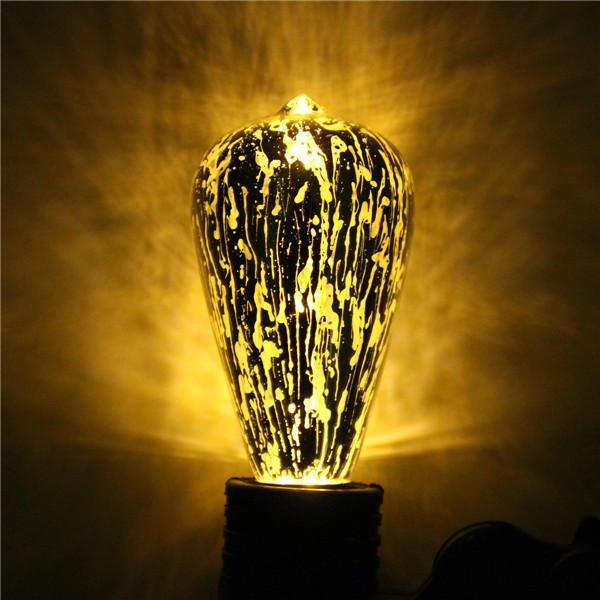 E27 ST64 5W Storm Silvering Vintage Antique Edison Filament COB LED Bulb Light Lamp 85-265V