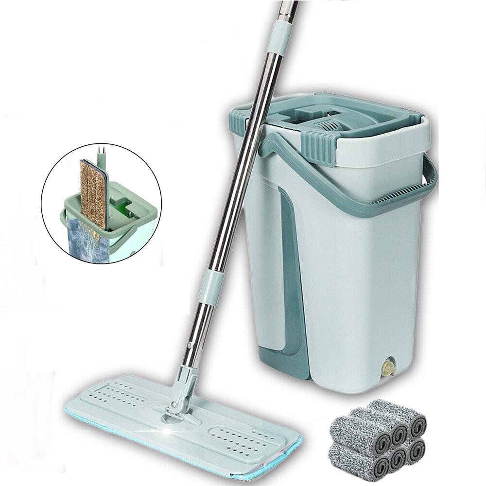 Flat Bucket Mops 360° Rotatable Fine Fiber Cleanner Free Hand Spin Washing Ultrafine Magic Floor Mop